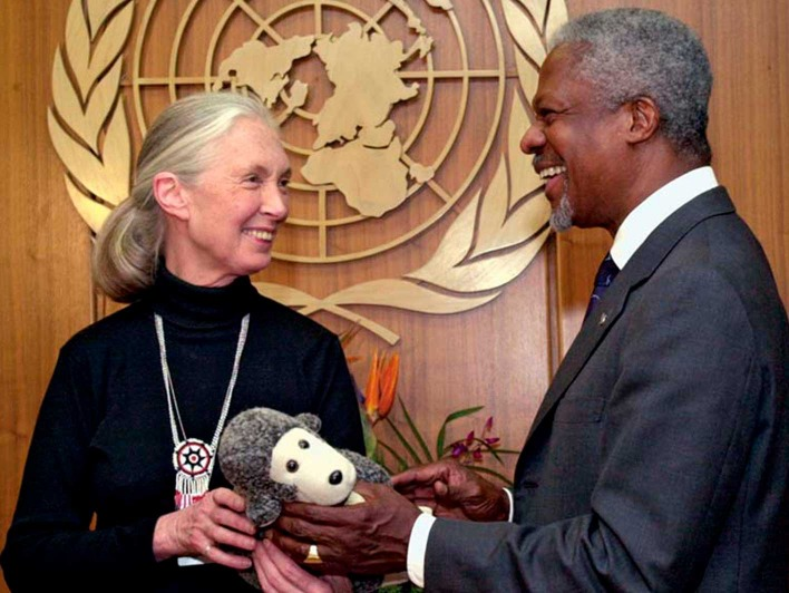 Jane Goodall trifft Kofi Anan