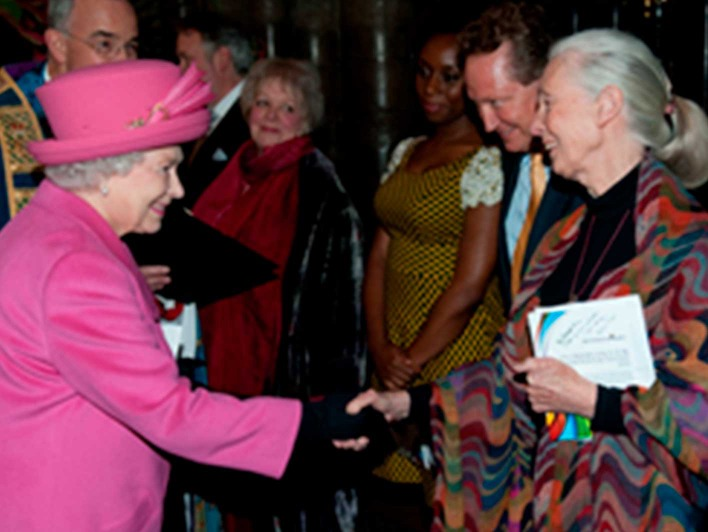 Jane Goodall mit Queen Elisabeth 2