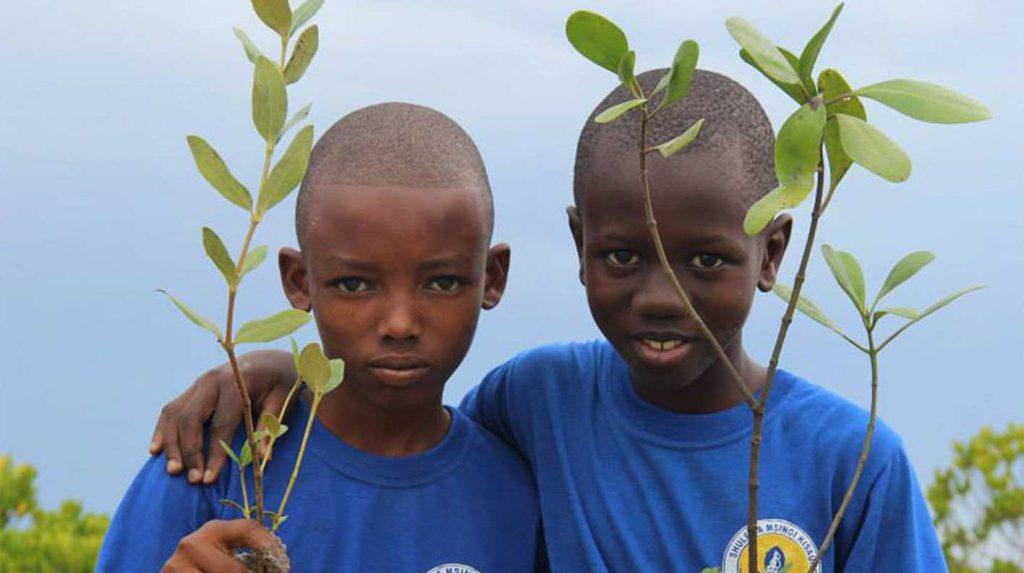 Afrikanische Kinder halten zwei Äste in der Hand
