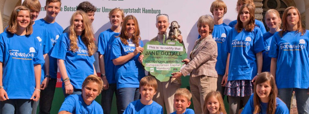 Jane Goodall bei einer Verleihung von Roots & Shoots in Hamburg