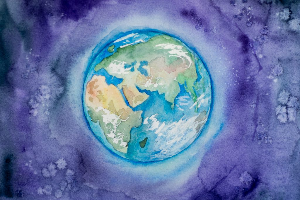 Ein farbenfrohes Bild der Erde aus dem Weltraum