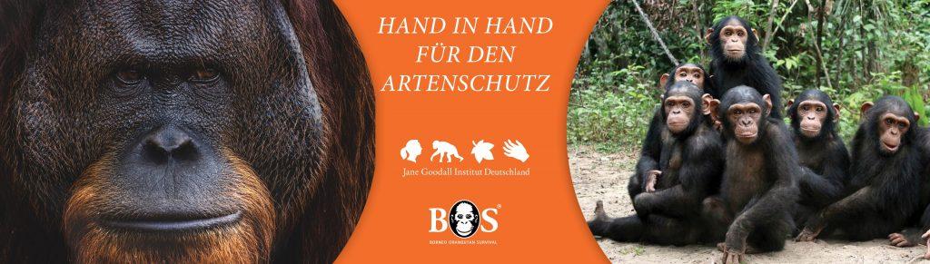 Banner Hand in Hand für den Artenschutz Online-Vortragsreihe mit BOS-Deutschland e.V.